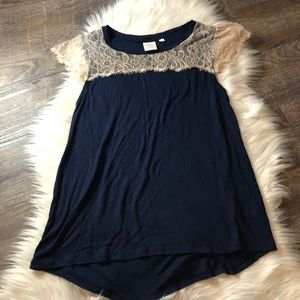 Anthropologie Eloise Navy Lace Blouse